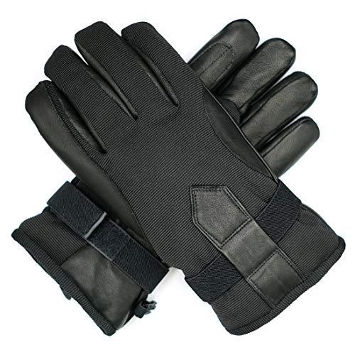 Harssidanzar Mens Winter Leather Outdoor Ski Snowboard Gloves Thermolite Lined Waterproof, Black, XXL