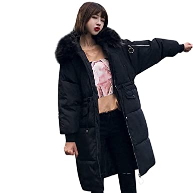 e4b656cdd5d0 Women Outerwear Puffer Coat Long Cotton-padded Down Jackets Pocket Faux Fur  Hooded