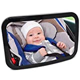 Baby Car Mirror for Back Seat - New Secure Fixing for Maximum Safety Visibility and Stability - View Infant in Rear Facing Car Seat - Size 11.5 by 7.5 inches - Includes Microfiber Cloth - Baby Shower Box