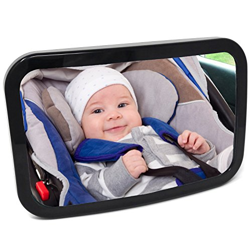 Baby Car Mirror for Back Seat, New Secure Fixing for Maximum Safety Visibility and Stability, View Infant in Rear Facing Car Seat, Size 11.5 by 7.5 inches, Includes Microfiber Cloth, Baby Shower Box