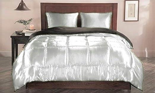 Amazon Com Linen Club Bedding Ultra Soft Luxurious Satin 3 Piece Silky Satin Comforter Set Duvet Comforter 2 Pillowcases Full Queen White Home Kitchen