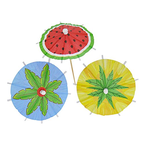 (Bilipala Hawaiian Watermelon Paper Umbrellas Summer Cocktail Parasol Picks Beach Party Fruit Cupcake Toppers Picks Decoration Party Supplies,Pack of)