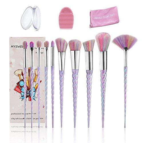14PCS Makeup Brushes Set, MYSWEETY 10Pcs Unicorn Makeup Brushes Foundation Eyeshadow Brushes + 2pcs Silicone Makeup Sponge + 1pc Makeup Brush Egg + 1pc Makeup Brush - Skin Pale Color For Best