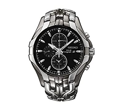 Seiko Men's Excelsior Black Ion Finish Solar Chronograph Watch from Seiko