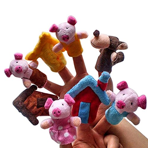 - ETbotu 8PCS Soft Animal Finger Puppets for Fairy Tale The Three Little Pigs Children Story Time Toys