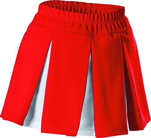 Alleson Girls Cheerleading Multi Pleat Skirt, Red/White, Large Pleat Cheer Skirt