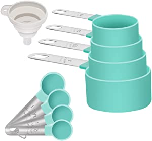 Measuring Cups and Spoons Set of 8 including 4 Cups, 4 Spoons, Stainless Steel Multi-Use Measuring Cups and Spoons for Dry or Liquid Ingredients (Green)