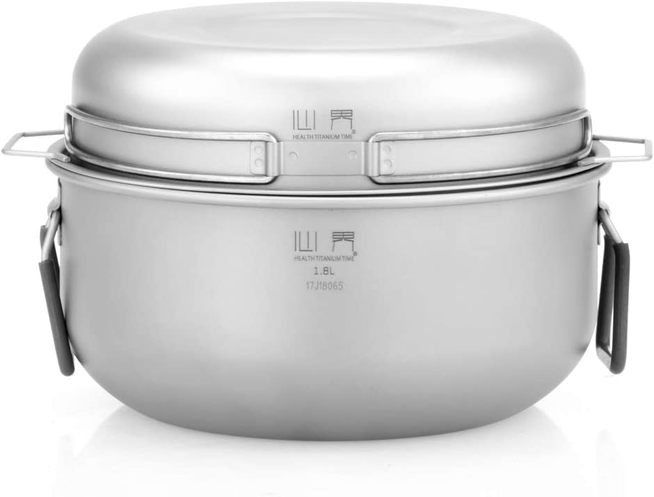 iBasingo Keith Mi6015 - Juego de 3 ollas de titanio para cocinar al aire libre, para interior y exterior, bandeja de vapor para cocina de gas y leña