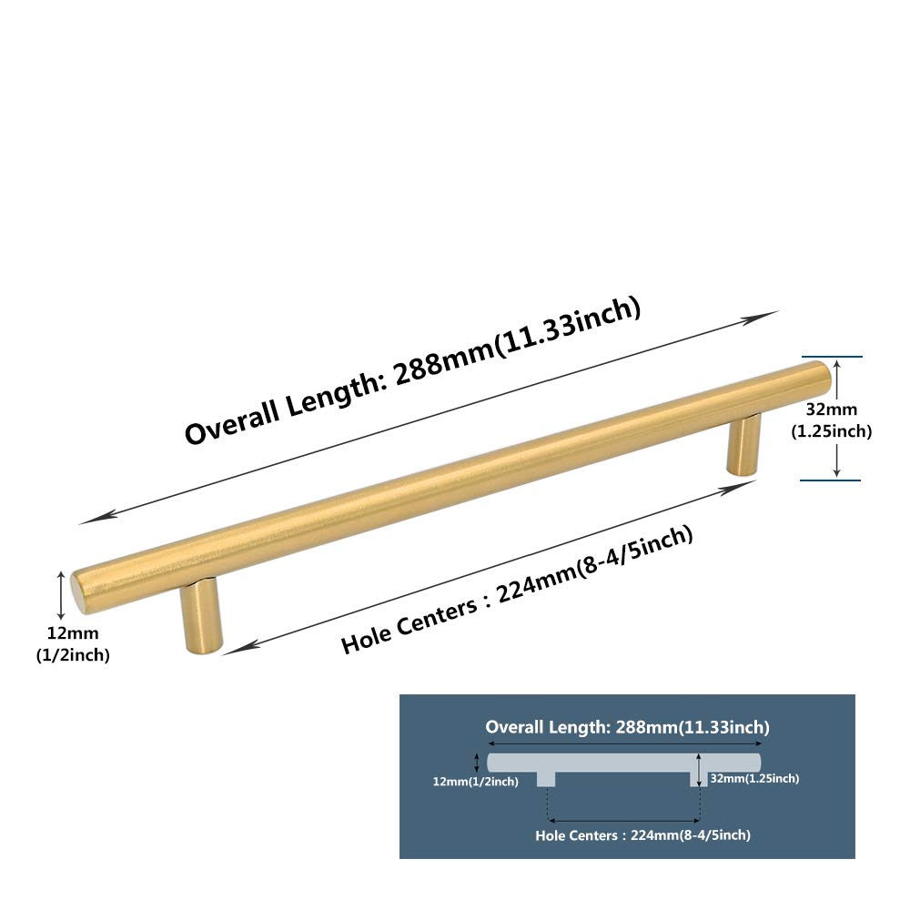 para armarios de cocina dorado 12 mm de di/ámetro tiradores de caj/ón Manijas de puerta de lat/ón cepillado de LONTAN barra en T
