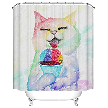 Curtains Ideas cat curtains kitchen : Amazon.com: Goodbath Funny Cat Eating Fish Pattern Mildew ...