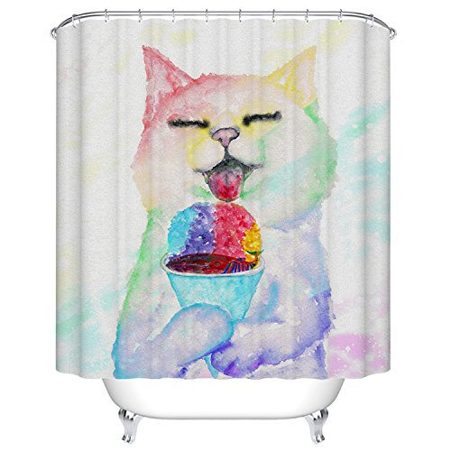 Goodbath Funny Cat Eating Fish Pattern Shower Curtains Liner 66 x 72 Inch (Cat)
