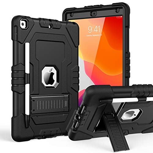TOPSKY iPad 10.2 2019 Case iPad 7th Generation Case with Pencil Holder Kickstand Three Layer Heavy Duty Shockproof Anti-Scratch Anti-Fingerprint Protective Cover Black