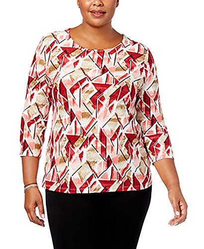 JM Collection Plus Size Printed Jacquard Top (2X) from JM Collection