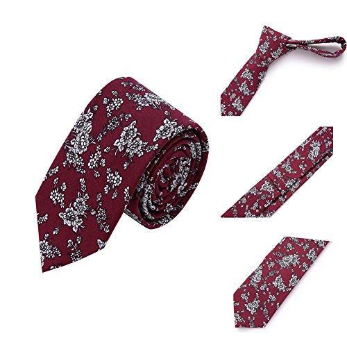 AUSKY 4 Packs Mens Ties Fashion Floral Printed Cotton Slim Skinny Neckties (Floral F) by AUSKY (Image #6)