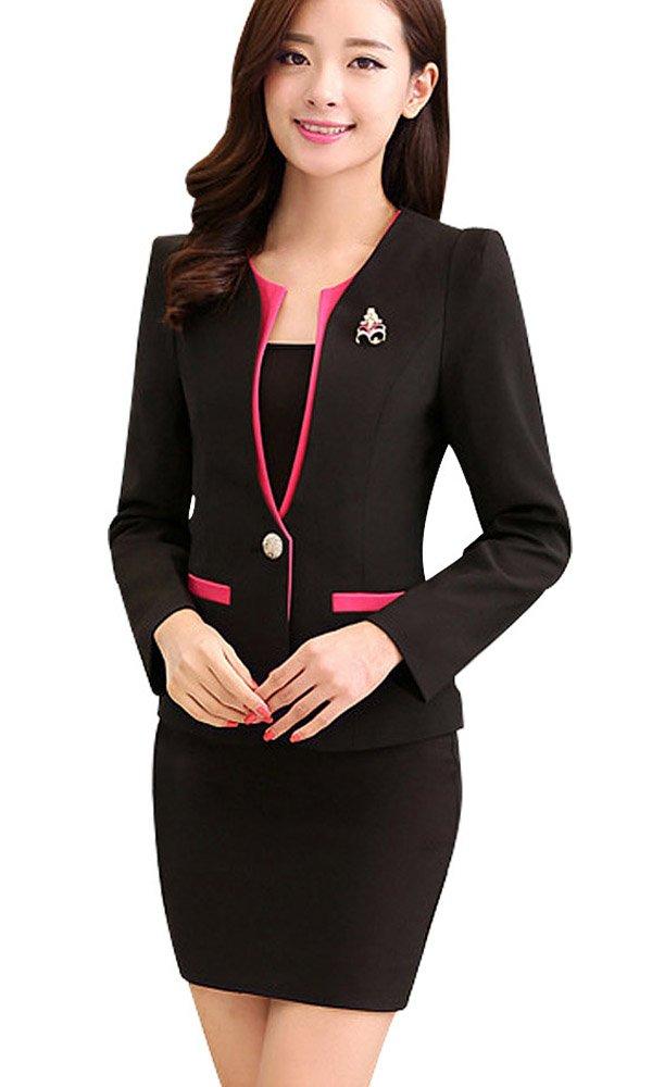 Kangqifen Women's Long Sleeve Business Offcie Suit Skirt Set (Small, Black)