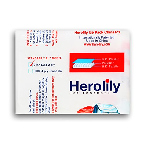 Herolily Reusable (HDR) Heat & Ice Sheets, Extreme Freeze, 2 ply Refreezable Techni Ice hdr Packs ,Microwave,Non Toxic, Coolers, Food, Hiking Camping Outdoor Food and Heat Pain Relif-3600 Sheet by Herolily