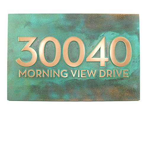 Bold Modern Font Business or House Address Plaque - 16x10.5 - Metal Coated in Bronze Verdi by Atlas Signs and Plaques