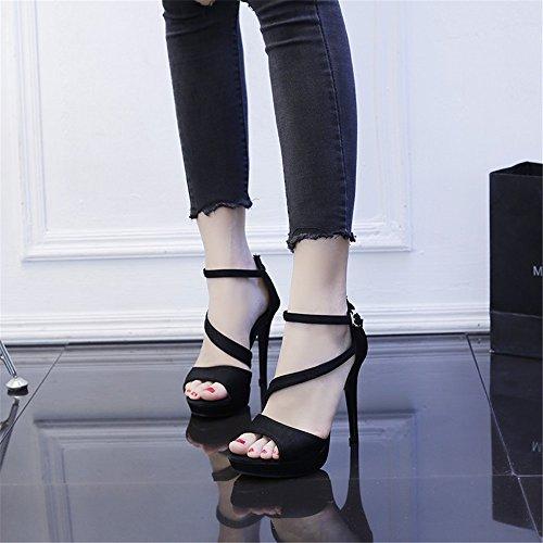 Summer HXVU56546 With Fine Sandals The New Black High Heel Sexy Ladies Sandals Shoes rqftvnAUq
