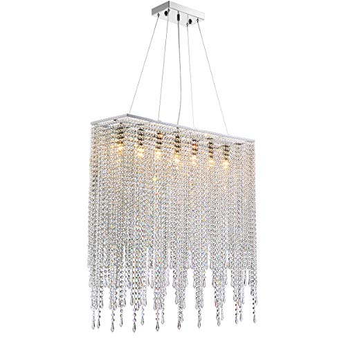 7PM Modern Rectangle Island Crystal Chandelier Pendant Lamp Light Fixture 7 Lights Required for Dining Room Kitchen Flush Mount L32 x W9.5 x H32