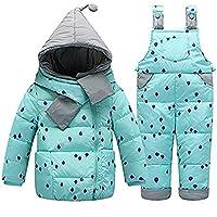 BATHAN Baby Girls Two Piece Puffer Down Winter Warm Scarf Dot Printed Snowsuit Jacket with Snow Ski Bib Pants