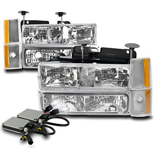 1988-1993 Chevy / GMC C/K Series Pickup Truck Crystal Headlights with Corner Lights + Bumper Lights + 8000K HID Conversion Kit – Chrome