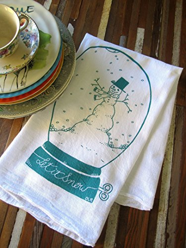 Oh, Little Rabbit Snow Globe Holiday Screen Printed Flour Sack Kitchen Dish Tea (Natural Snowglobe)