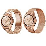 Compatible Samsung Galaxy Watch(42mm) Bands, 20mm Stainless Steel Band + Milanese Loop Mesh Replacement Bracelet Metal Strap Compatible Samsung Galaxy Watch 42mm (Rose Gold)