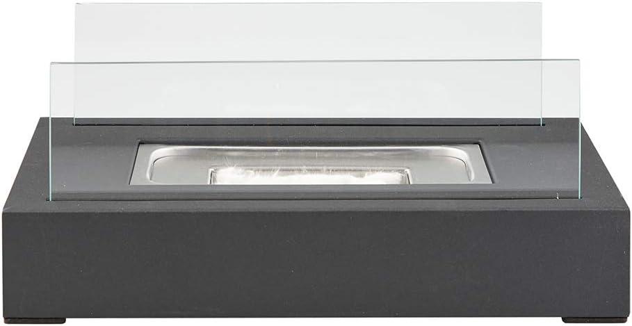 Foyer de Table//Br/ûleur de chauffage au Bio/éthanol Panneaux Verre tremp/é Rectangle Design Moderne Contemporain Portable A utiliser /à lInt/érieur//lExt/érieur Base en Acier noir mat Autoportant