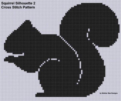 Squirrel Silhouette 2 Cross Stitch Pattern