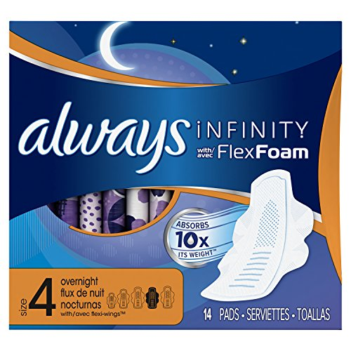 Always Infinity Size 4 Unscented Overnight Pads with Wings, 14 Count