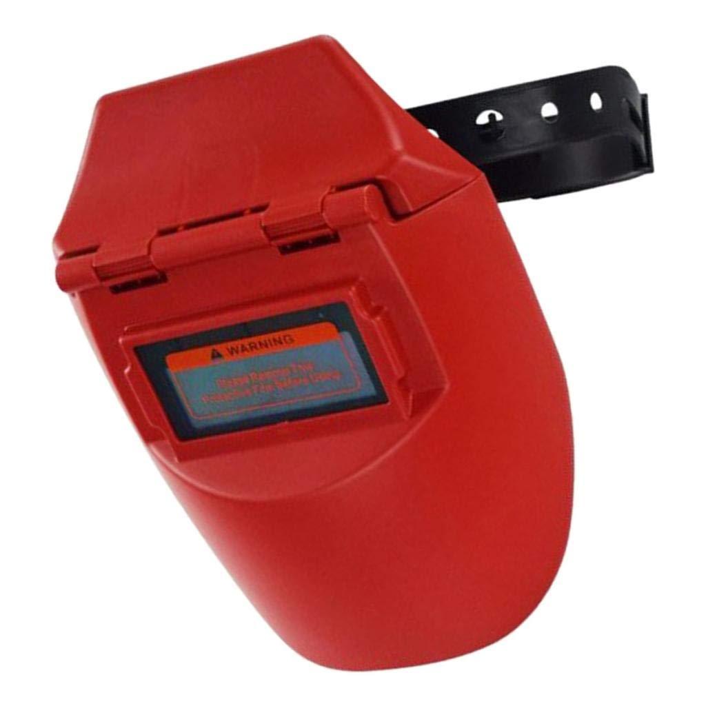 Rojo gazechimp Careta Soldar Automatica Solar de Medio Casco con Correa Ajustable Pel/ícula F/ácil de Reemplazar Dise/ño Plegable