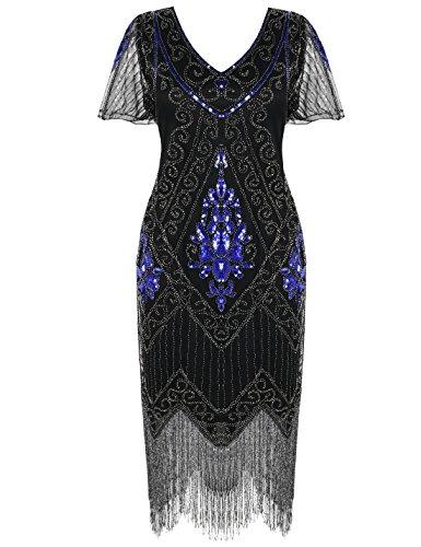 PrettyGuide Women's 1920s Dress Art Deco Cocktail Dress Short Sleeve 3XL Blue Silver ()