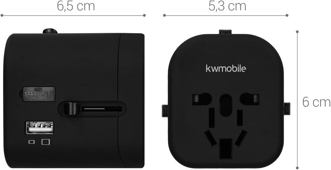 Port 3A Type C Prises /électriques Prises de Courant Blanc kwmobile Adaptateur Universel 150 Pays Prise Universelle Voyage 4 Ports USB