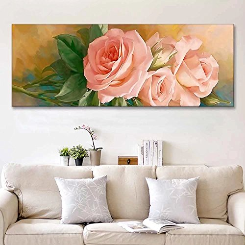 Floral Needlework Kit - 5D DIY Full Drill Pink Rose Diamond Painting By Number Embroidery kit Flowers Cross Stitch Diamond Painting Full Diamond Needlework Diamond Craft Gift Wall Art