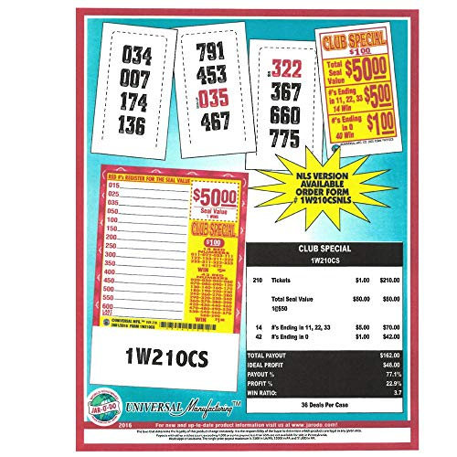 Club Special 1 Window Pull Tab Tickets - 210 Tickets Per Deal - Total Payout: $162 ()