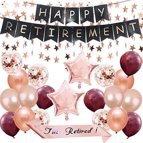 退職パーティー飾り 定年 記念日 お祝い 光沢バルーン 紙吹雪 ローズゴールド ラテックス ブラック 店の飾り 女