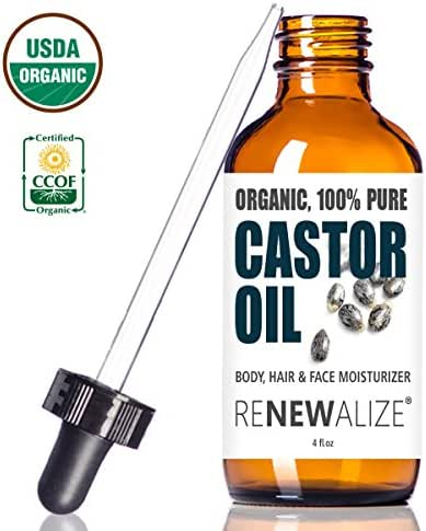 CERTIFIED ORGANIC CASTOR OIL - Essential For Hair Growth in LARGE 4 OZ. Dark Glass Bottle with Dropper | Grow Longer Thicker Eyelash | Best Quality Cold Pressed Unrefined Serum | Non-GMO Hexane-Free