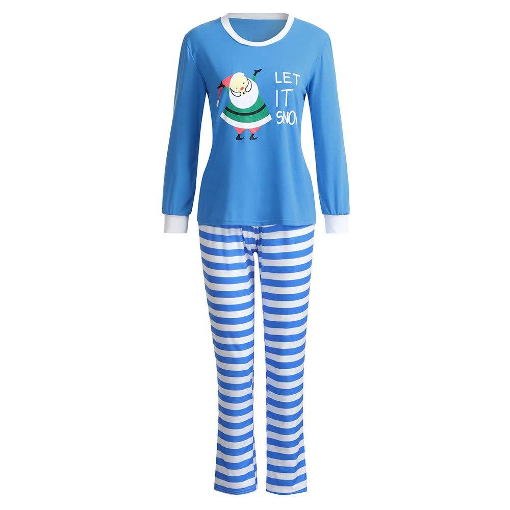 Christmas Pajamas Indoor Shirt Pants 2Pcs Sleep Nightwear Mlide Favorite Blue Santa Claus Stripes Nightwear Set