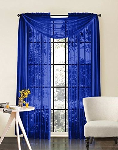 Amari Linen Sheer Window Treatment Panel Drape Curtains or Scarf Valance (1 Scarf 37