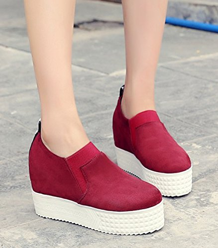Aisun Womens Casual Round Toe Slip On Thick Sole Platform Elevator High Heel Sneakers Shoes Wine Red pusAPX