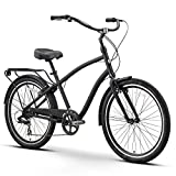 "sixthreezero EVRYjourney Men's 7-Speed Hybrid Cruiser Bicycle, Matte Black w/Black Seat/Grips, 26"" Wheels/19 Frame"