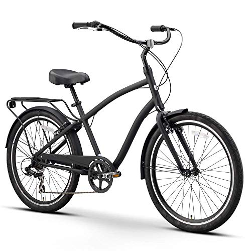 sixthreezero EVRYjourney Men's 7-Speed Hybrid Alloy Cruiser Bicycle, Matte Black w/Black Seat/Grips, 26