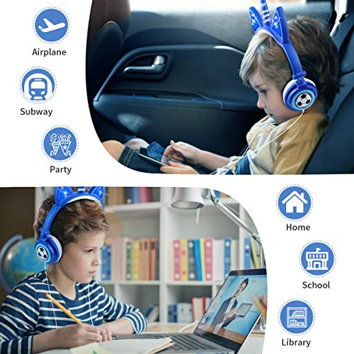 Sunvito Kids Headphones, with LED Light up Unicorn & Cat Ears, 85dB Volume Limit, Foldable 3.5mm Wired On-Ear Headsets for Girls with Microphone, Ideal Headphones for Children-Blue