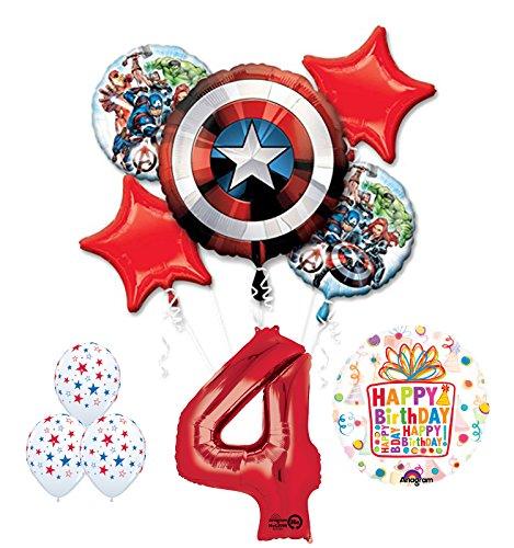 The Ultimate Avengers Super Hero 4th Birthday Party Supplies and Balloon (Avengers Birthday Supplies)