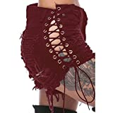 Women's Denim Cut Off Shorts Sexy Destroyed Ripped Short Jeans Mini Hot Pants Clubwear (Red, S)