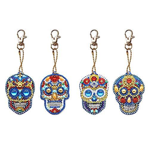 4pcs DIY Skull Keychain Diamond Painting Mosaic Making Kits 5D Diamond Painting Keychain Special-Shaped Full Drill Skull Ornament