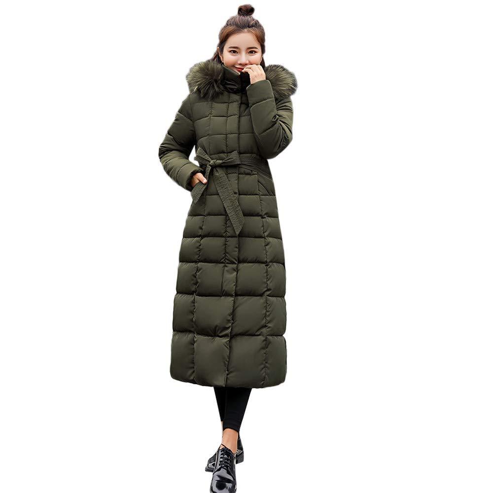Garish Winter Fashion Women Long Warm Coat Faux Fur Hooded Parkas Women Cotton-Padded Down Jackets Casual Pure Coats Green by Garish