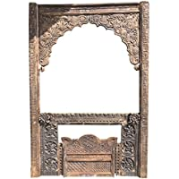 Mogul Interior Beautiful Farmhouse Antique Hand Carved Jharokha Natural Wooden Arch Window Frame Vintage Wall Decor