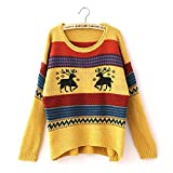 Fashiomy Girl's Knitted Sweater Autumn Winter Casual Coat Jacket Top (Yellow)