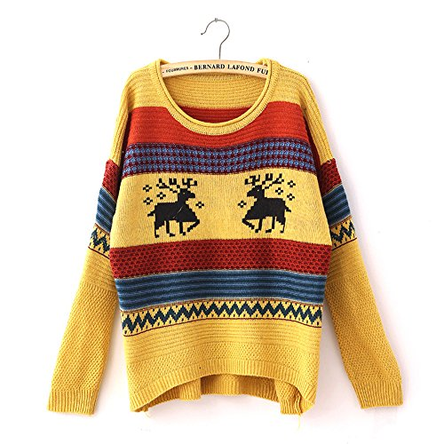 Fashiomy Girl's Knitted Sweater Autumn Winter Casual Coat Jacket Top (Yellow) by Fashionmy